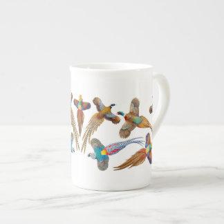 Colorful Pheasants Bone China Mug Tea Cup