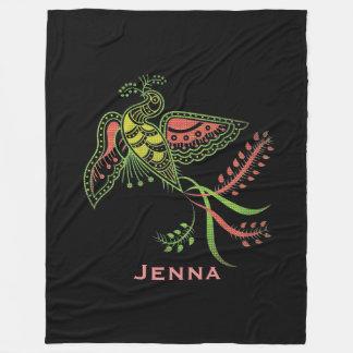 Colorful Phenix Bird Tribal Style Monogramed Fleece Blanket