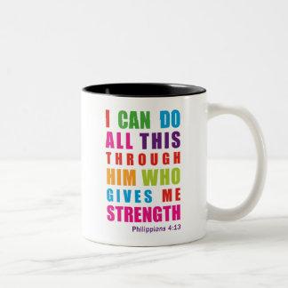 Colorful Philippians 4:13 Bible Scripture Mug