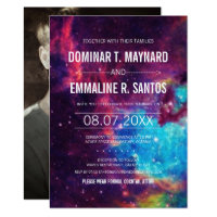 Colorful Photo Galaxy Wedding Invitation