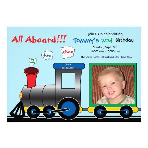 Colorful Photo Train Birthday Invitation