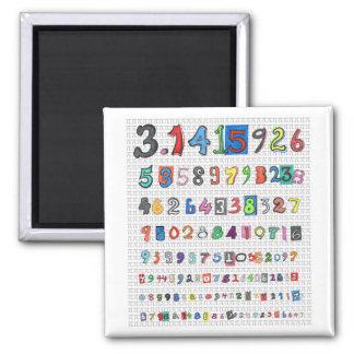 Colorful Pi 2 Inch Square Magnet