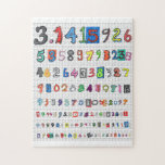 """Colorful Pi Jigsaw Puzzle<br><div class=""""desc"""">Colorful,  fun depiction of pi to more than one hundred places. Great for math lovers. Great for Pi Day.</div>"""