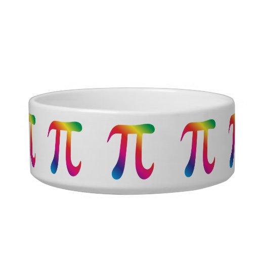 Colorful pi symbol cat food bowl