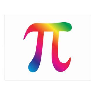 Colorful pi symbol postcard