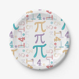Colorful Pi Symbols - Pi Day 2015 - 3.14.15 7 Inch Paper Plate