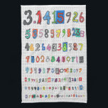 "Colorful Pi Towel<br><div class=""desc"">Colorful,  fun depiction of pi to more than 100 decimal places. Each digit is unique and hand drawn. The numbers appear over a background pattern of the Greek letter pi. Great for math lovers. Great for Pi Day. Another pi towel is also available:</div>"