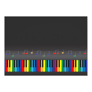 Colorful piano keyboard 5x7 paper invitation card