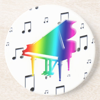 colorful Piano Keyboard and Music Notes Drink Coaster