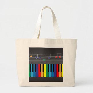 Colorful piano keyboard large tote bag