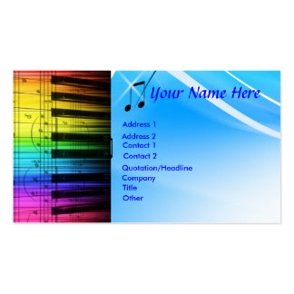 Colorful Piano Keyboard & Notes Business Card