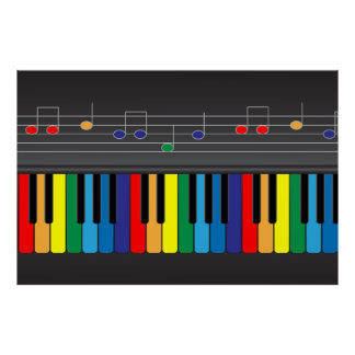 Colorful piano keyboard posters