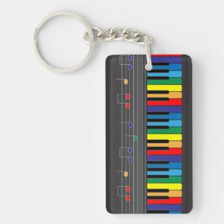 Colorful piano keyboard Single-Sided rectangular acrylic keychain