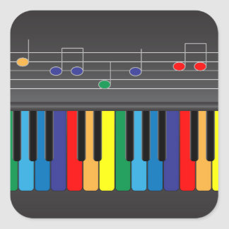 Colorful piano keyboard square stickers