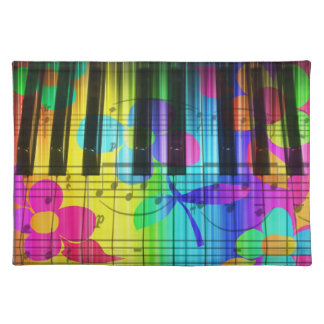 Colorful Piano Keyboard With Flowers Placemats