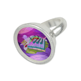 Colorful Piano Keys Silver Round Ring