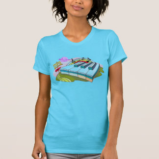 Colorful Piano Keys Turquoise Fine Jersey T-Shirt