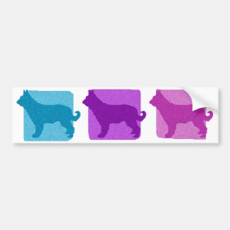 Colorful Picardy Shepherd Silhouettes Car Bumper Sticker