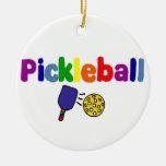 Colorful Pickleball Art Design Ceramic Ornament