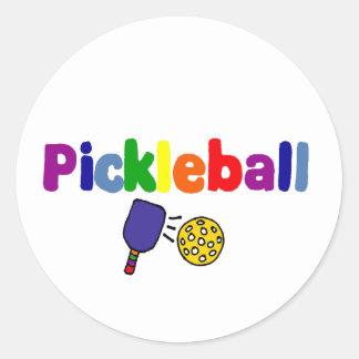 Colorful Pickleball Art Design Classic Round Sticker