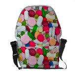 Colorful pills bag messenger bags