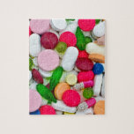 "Colorful pills custom product jigsaw puzzle<br><div class=""desc"">Merchandised product with print of colourful pills</div>"