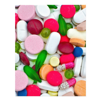Colorful pills custom product letterhead