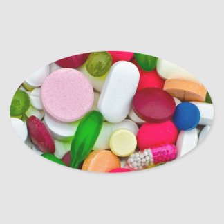 Colorful pills custom product oval sticker