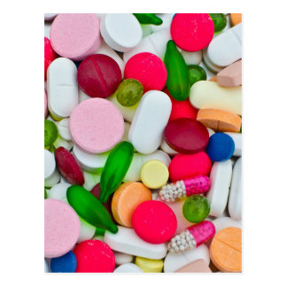 Colorful pills custom product postcard