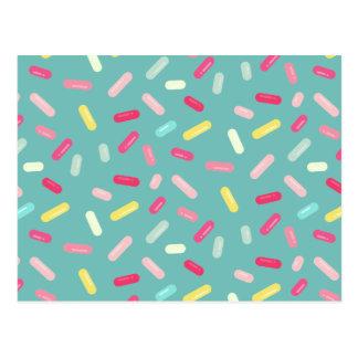 Colorful pills pattern postcard
