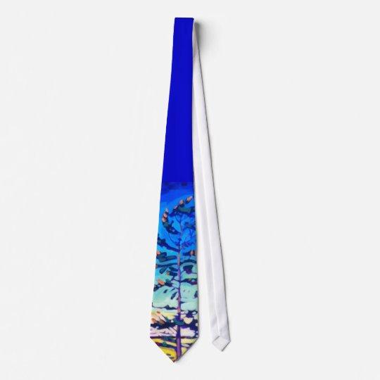 Colorful Pine Tree Painting Tie