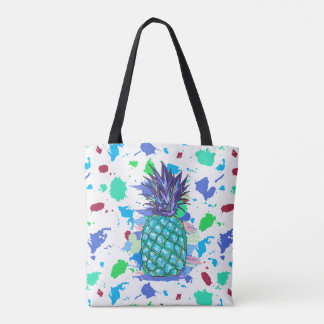 Colorful Pineapple And Paint Splatter Illustration Tote Bag