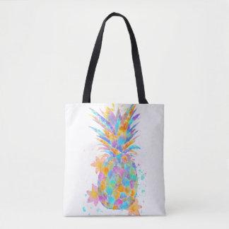 Colorful pineapple splash tote bag