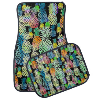 colorful pineapples on any background color car floor mat