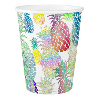colorful pineapples pattern paper cup