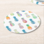 """colorful pineapples round paper coaster<br><div class=""""desc"""">pineapples pattern set of six paper coasters</div>"""