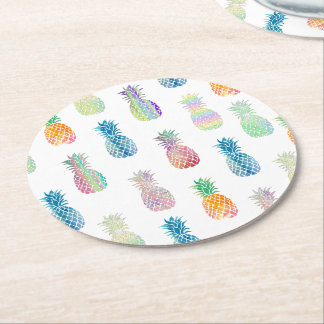 colorful pineapples round paper coaster
