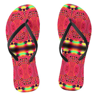 Colorful Pink  Abstract Flip Flops