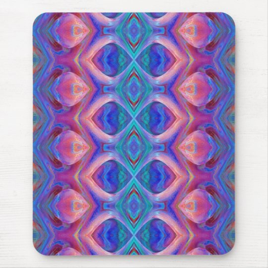 Colorful Pink and Blue Abstract Mouse Pad