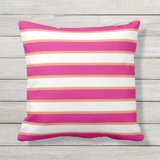 Colorful Pink and Orange Stripe Outdoor Outdoor Pillow