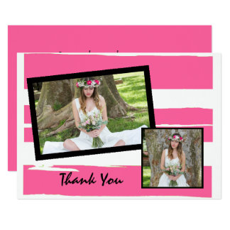 Colorful Pink and White Watercolor Photo Card