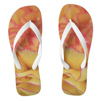 Colorful Pink and Yellow Carnation Flower Flip Flops