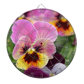 Colorful Pink and Yellow Pansy Flower Dartboard With Darts