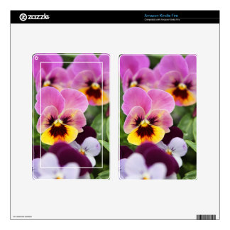 Colorful Pink and Yellow Pansy Flower Decal For Kindle Fire