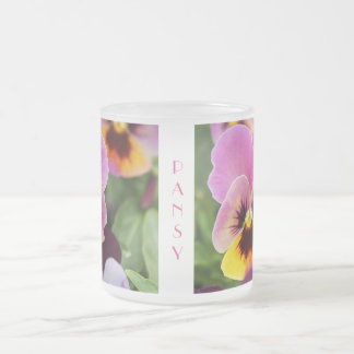 Colorful Pink and Yellow Pansy Flower Frosted Glass Coffee Mug