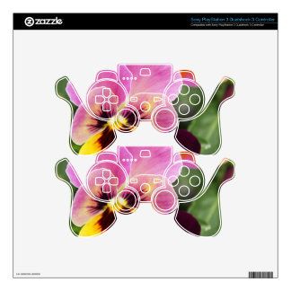 Colorful Pink and Yellow Pansy Flower PS3 Controller Skins