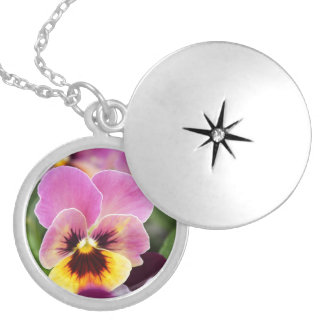 Colorful Pink and Yellow Pansy Flower Silver Plated Necklace
