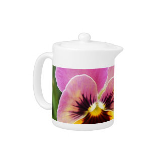 Colorful Pink and Yellow Pansy Flower Teapot