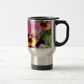 Colorful Pink and Yellow Pansy Flower Travel Mug