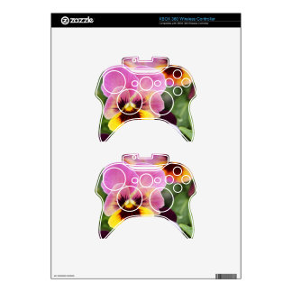 Colorful Pink and Yellow Pansy Flower Xbox 360 Controller Skin